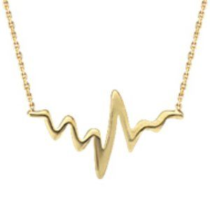 Fine Silver Yellow Gold Heartbeat Pulse Necklace